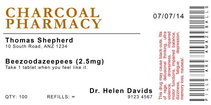 Pill Bottle Label 2 (Beezoodazeepees) v1.0