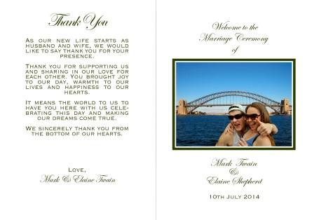 Wedding Programme Book 1
